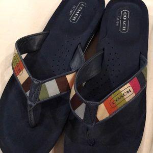 Coach Shoes - COACH 11 striped flip flops